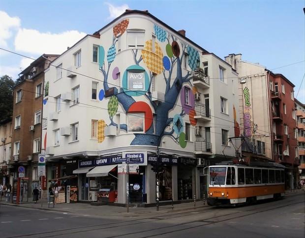 Street corner in Sofia, Bulgaria